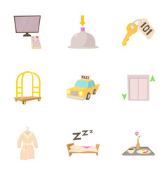hotel resort icons set cartoon style vector image vector image