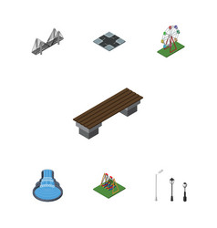 Isometric city set of bridge seesaw garden decor vector