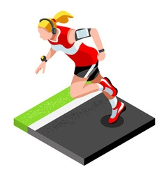 Marathon runners fitness working out 3d isometric vector