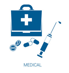 Medical blue flat icon on white background vector