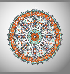 Ornamental olorful geometric mandala in aztec vector