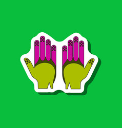 Paper sticker on stylish background golf gloves vector