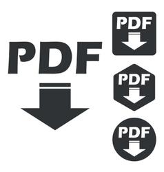 Pdf download icon set monochrome vector