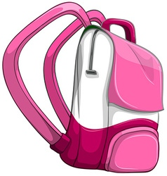 Pink backpack on white vector