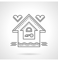 Real estate flat line icon family house vector