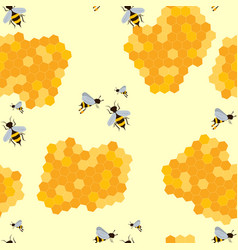 Seamless pattern with bee and honey vector