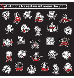 set of icons for restaurant menu design vector image vector image
