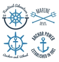 Set of retro vintage nautical labels and badges vector image vector image