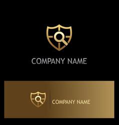 Shield gold search company logo vector