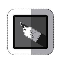 Sticker monochrome square with label with vector