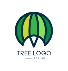tree logo template green abstract organic design vector image