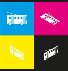 Trolleybus sign white icon with isometric vector