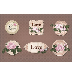 vintage labels collection with roses vector image