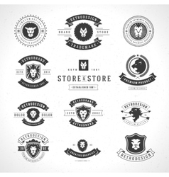 Vintage lion logotypes set vector