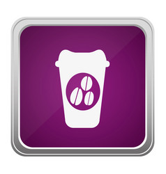 Violet square button relief with silhouette glass vector