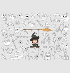 witch cute and black cat ride on the swinging vector image
