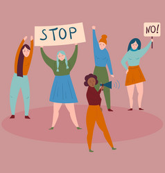 Women protest with stop and no signsdemostrants vector