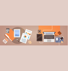 Workplace desk top angle view tablet laptop vector