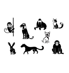 Zoo wild animals black set vector