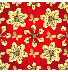 Floral vivid red seamless pattern vector