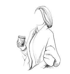 Sketching of beautiful young woman with cup coffee vector