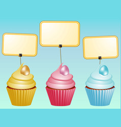Cupcakes with eggs and blank labels vector