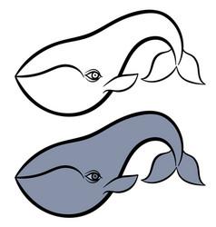 Hand drawn whale vector