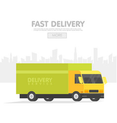 Delivery car and set of cardboard boxes delivery vector