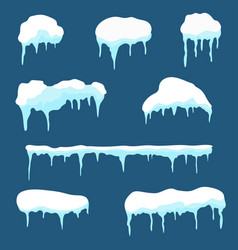 snow cap ice cap set snowdrifts and icicles vector image