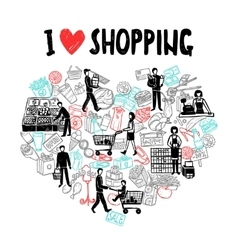 I love shopping concept vector