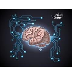 Futuristic computer brain vector image
