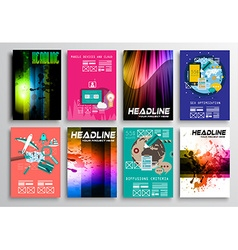 Set of flyer design flat user interface brochure vector