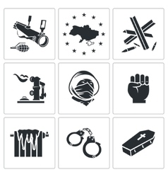 Ukraine icons set vector