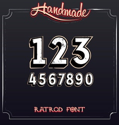 Retro vintage label font grunge numbers vector