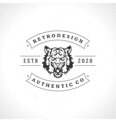 Vintage tiger logotype or mascot emblem vector