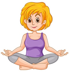 Middle aged woman doing yoga vector