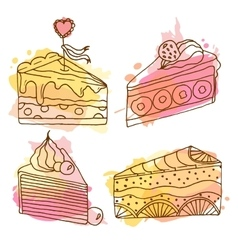 Cake set of 4 hand drawn vector
