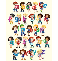 Boys and girls with english alphabet vector