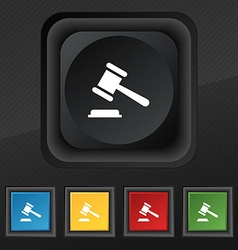 Judge or auction hammer icon symbol set of five vector