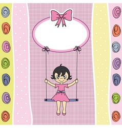 Happy girl on a swing vector
