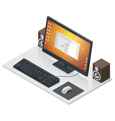 workplace with computer and peripherals vector image