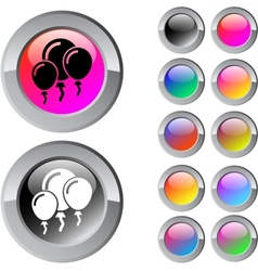 Balloons multicolor round button vector