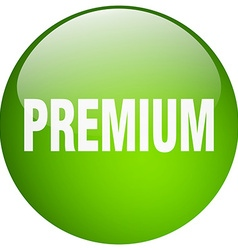Premium green round gel isolated push button vector