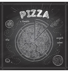 Pizza with salami scetch on a black board vector