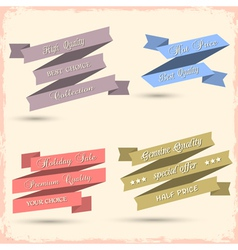Set of vintage ribbons for design vector