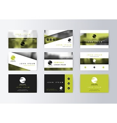 Set of business cards green background template vector