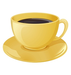 A golden cup with a dark coffee vector