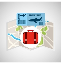Airline ticket map travel suitcase vector