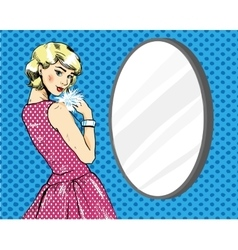 Beautiful woman in front of mirror vector