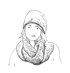 Beautiful woman in winter scarf and hat fashion vector
